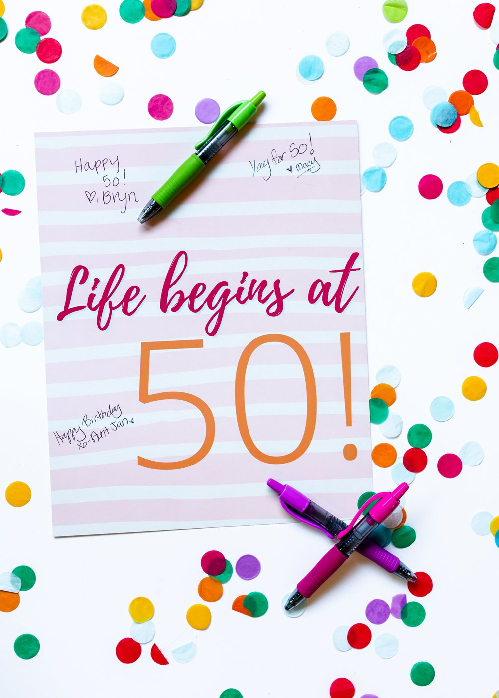 50th birthday guest book sign in poster print