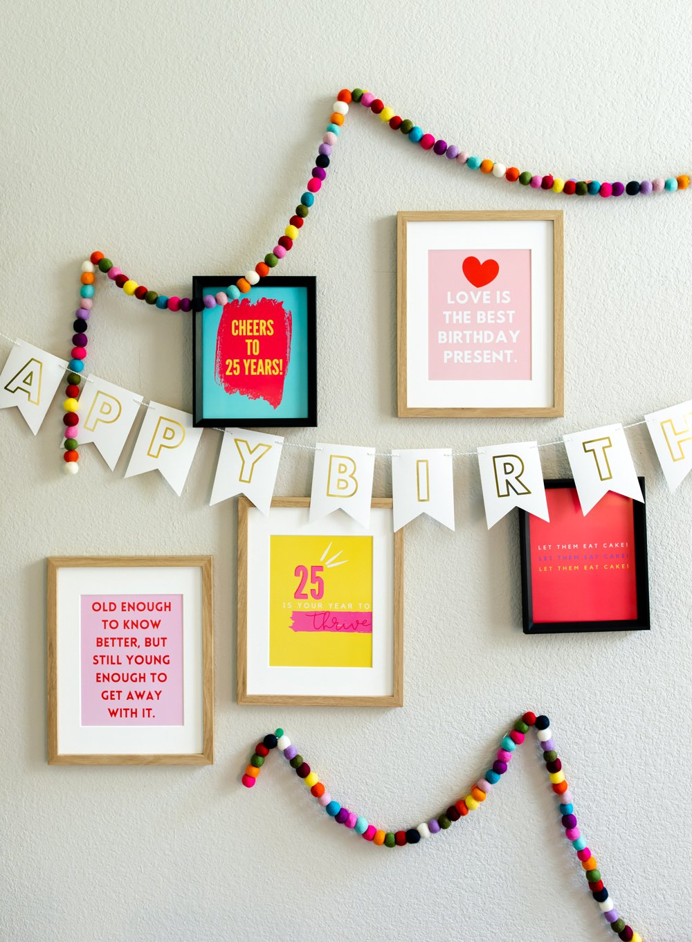 25th birthday quotes printed for party decor