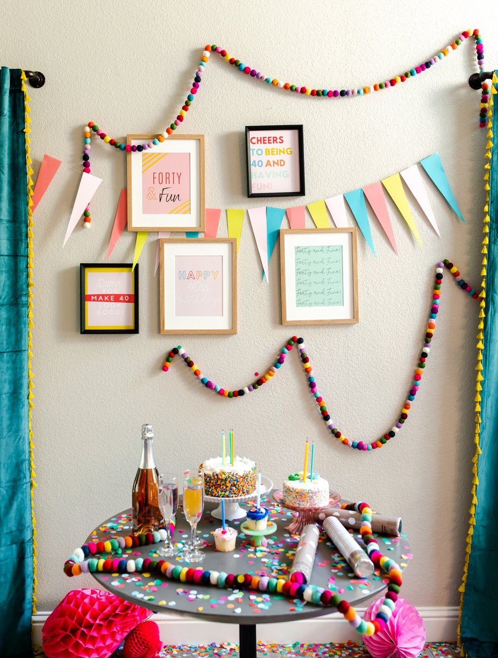 40th birthday party quotes poster decor