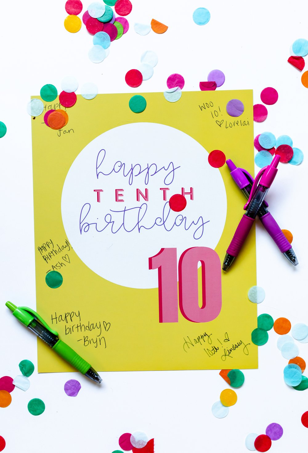 10th Birthday Guest Book Sign In posters