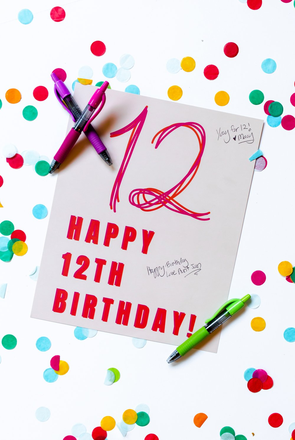 12th Birthday Sign In Quest Book Poster Print