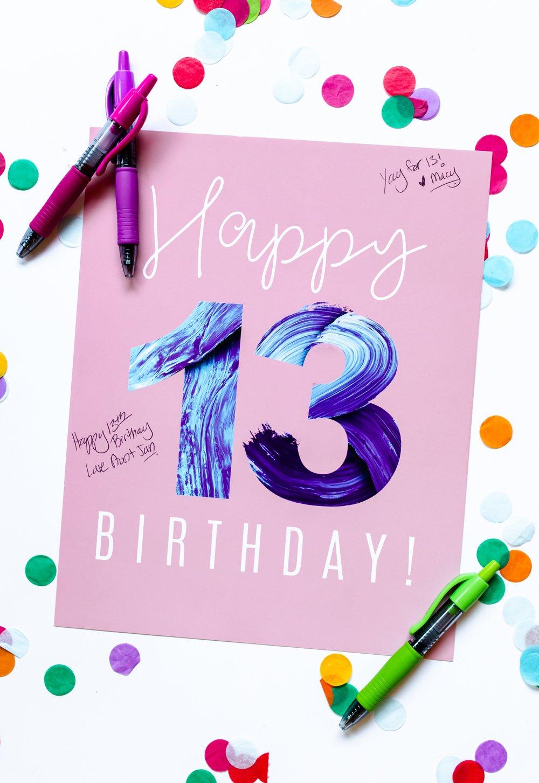 13th Birthday Sign In Poster Birthday Book