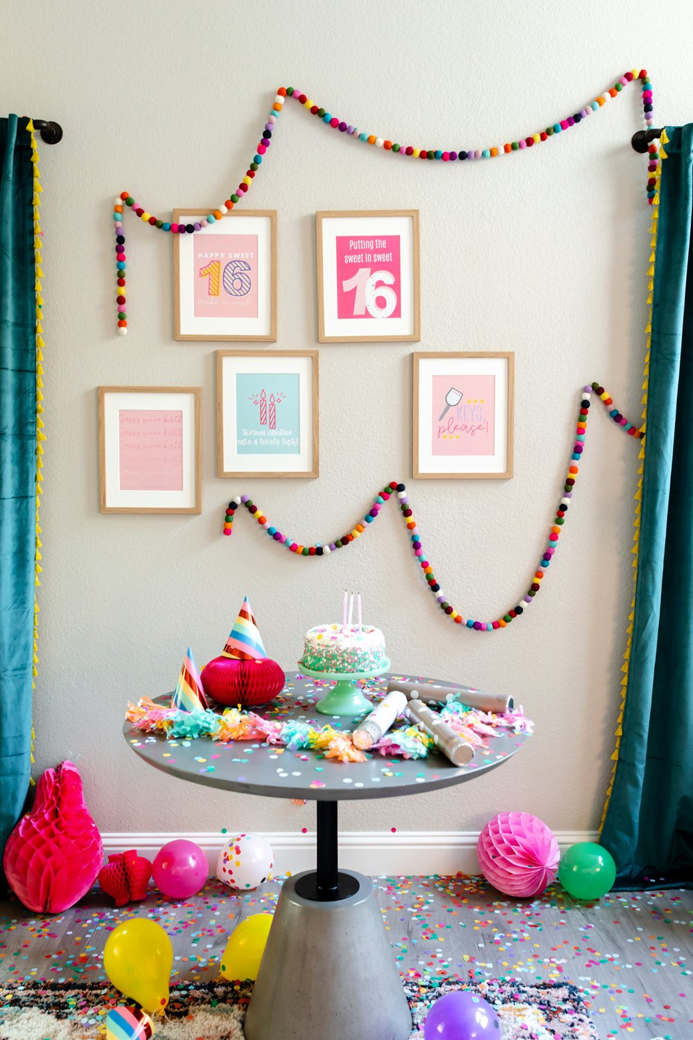 Sweet 16 birthday party decor at home prints