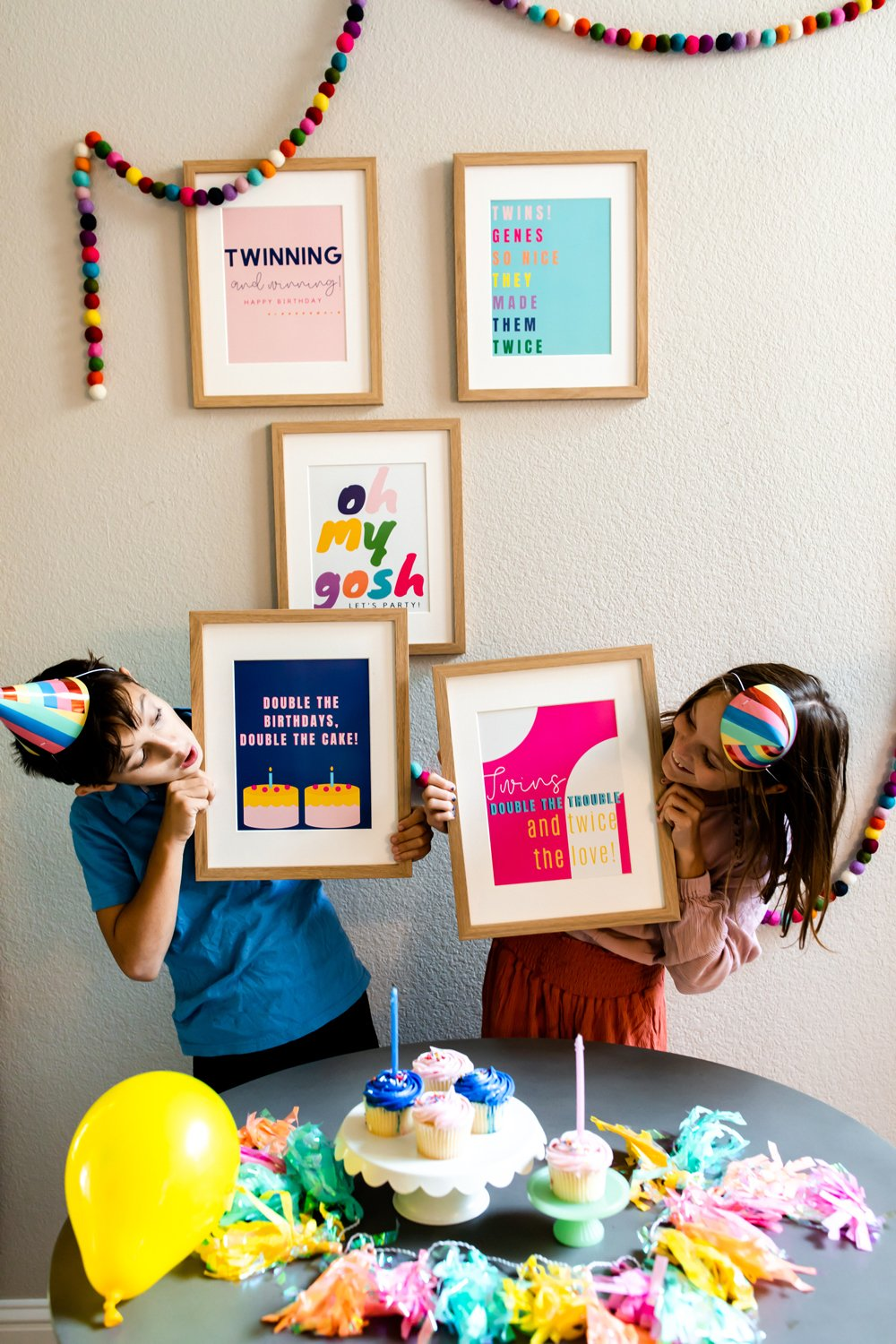 Twins Birthday Party Style Prints