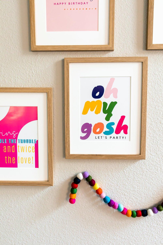 Twins birthday quotes prints party decor