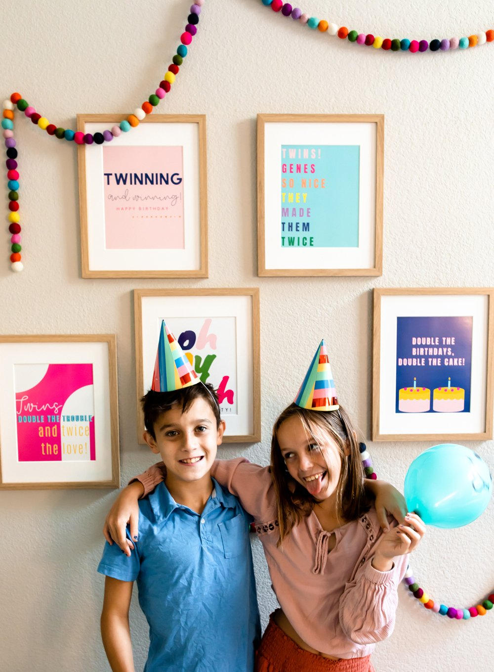 Birthday Party For Twins Decorations Posters & Prints