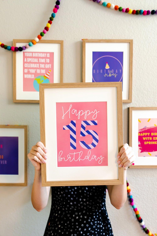 15th birthday party decor quote prints