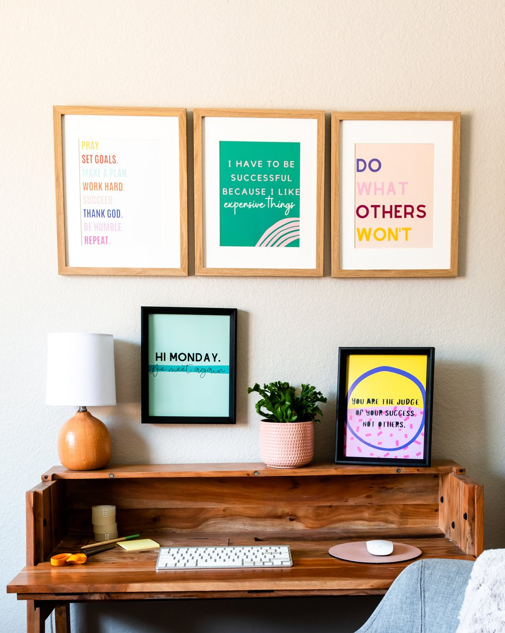 Cute Pink Aesthetic home office quotes