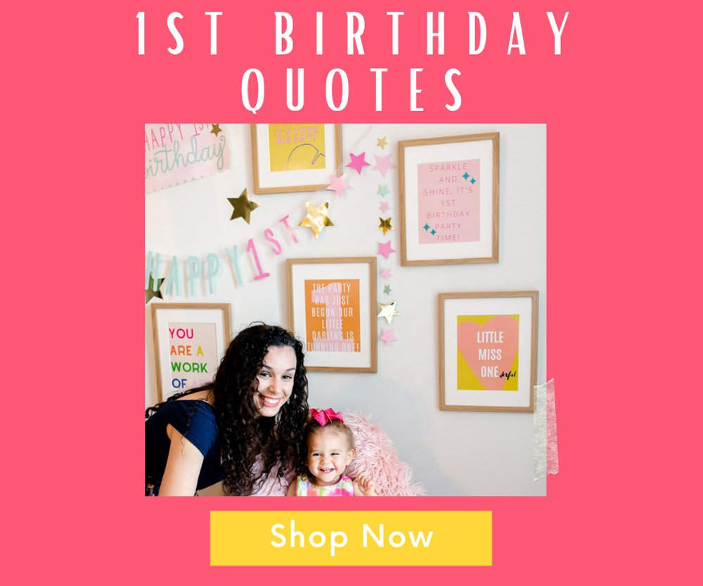 1st birthday party pack quote prints banner