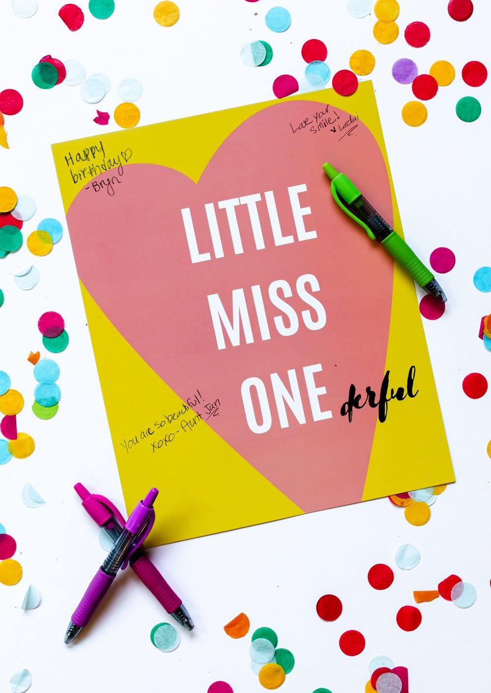 First birthday quest book sign in quote poster print