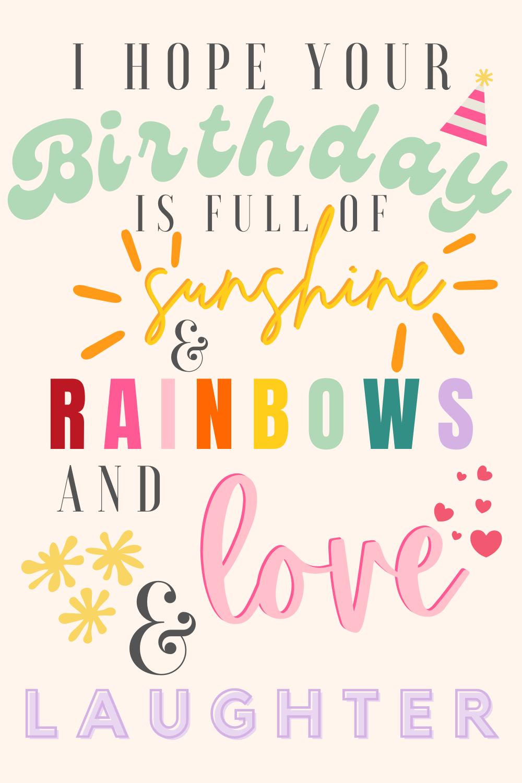 Colorful Rainbow Birthday Quotes