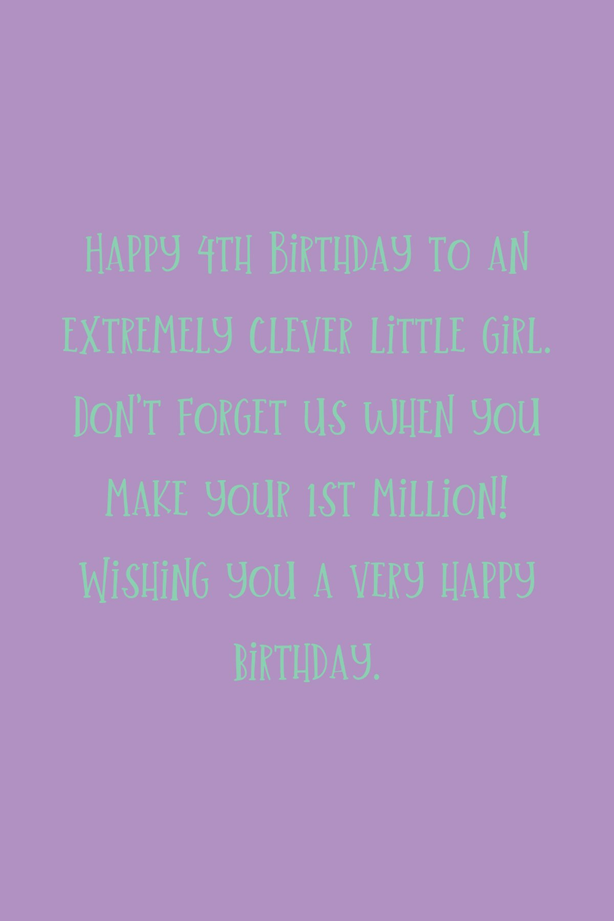 happy 4th birthday Wishes for Girls